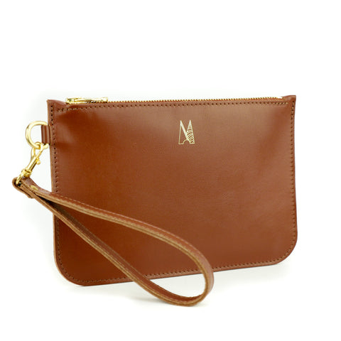 Tan Leather Clutch Bag - Roam
