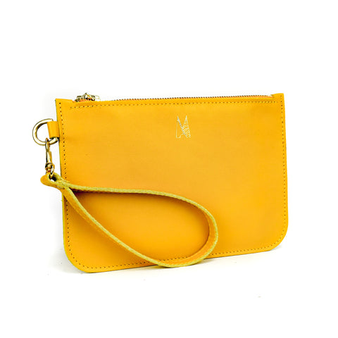 Yellow Leather Wristlet Bag - Roam
