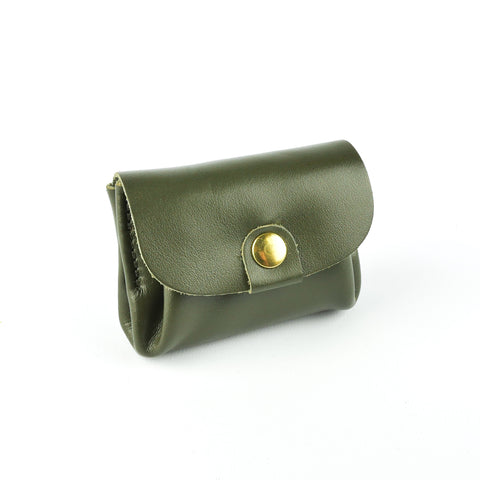 Olive Green Leather Coin Purse - Roam