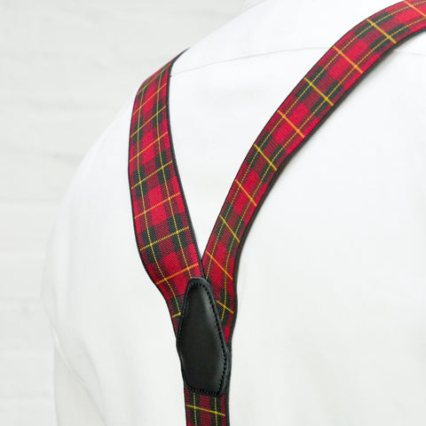 Red Tartan Mens Trouser Braces