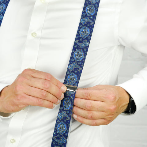 Blue Paisley Trouser Braces