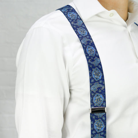 Navy and Royal Blue Paisley Trouser Braces