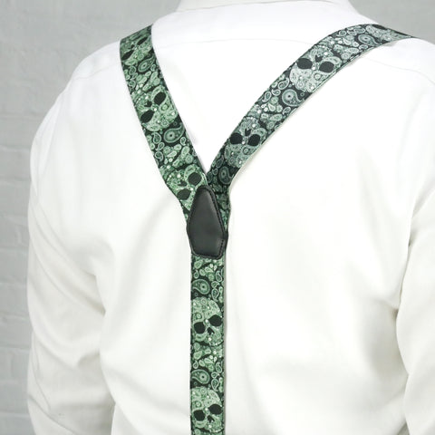 Green Skulls Paisley Trouser Braces