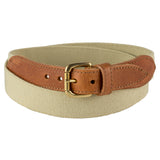 Beige Narrow Leather Trimmed Elasticated Belt