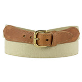 Women's Leather Trimmed Elasticated Beige Belt
