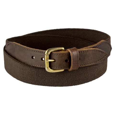 Brown Narrow Leather Trimmed Elasticated Belt