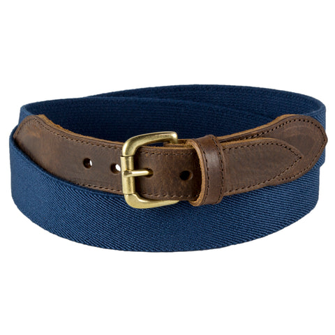 Navy Narrow Leather Trimmed Elasticated Belt