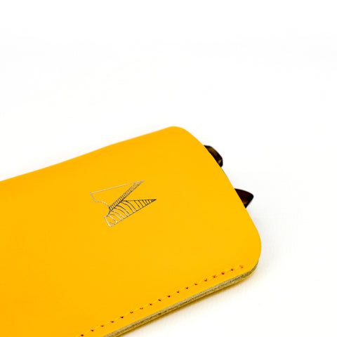 Yellow Leather Glasses Pouch - Chroma