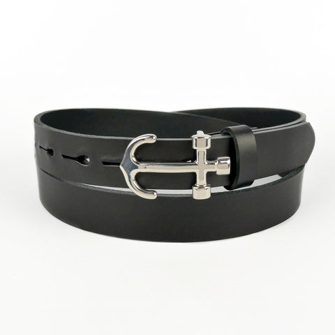 Anchor Buckle Leather Belt Black