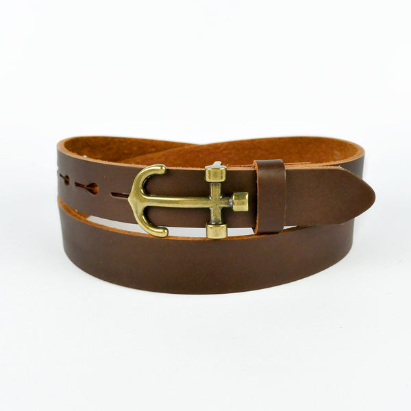 Anchor Buckle Leather Belt Brown