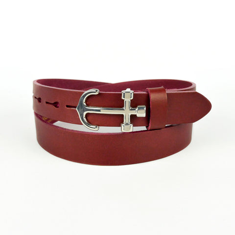 Anchor Buckle Leather Belt Burgundy