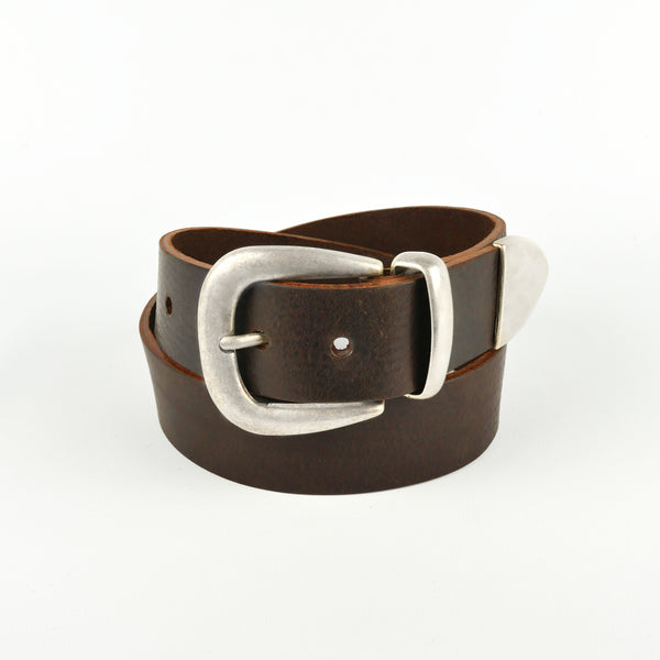 "Brown 1 1/2"" 3 Part Buckle Leather Belt"