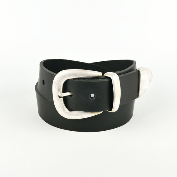 "Black 1 1/2"" 3 Part Buckle Leather Belt"