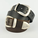 "Tan 1 1/2"" 3 Part Buckle Leather Belt"