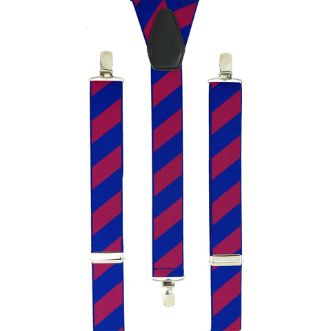 Blue and Hot Pink Striped Trouser Braces