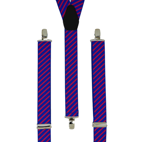 Narrow Blue and Hot Pink Striped Trouser Braces