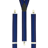 Trouser braces in Navy, blue, sky blue and white. Silver Clips and Slides