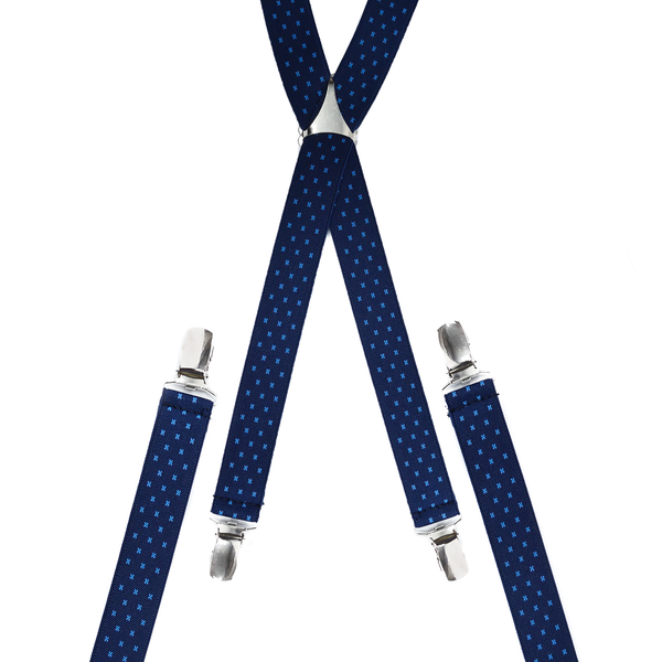 Polka-Cross Navy and Cream Skinny Trouser Braces