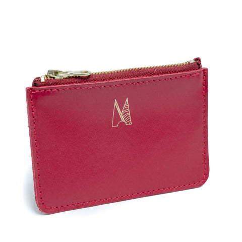 Red Leather Zip Purse - Roam