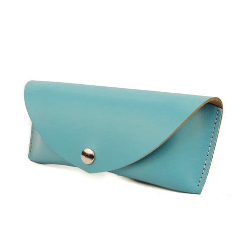 Light Blue Leather Sunglasses Case - Chroma