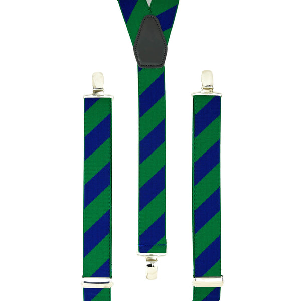 Green and Blue Striped Trouser Braces