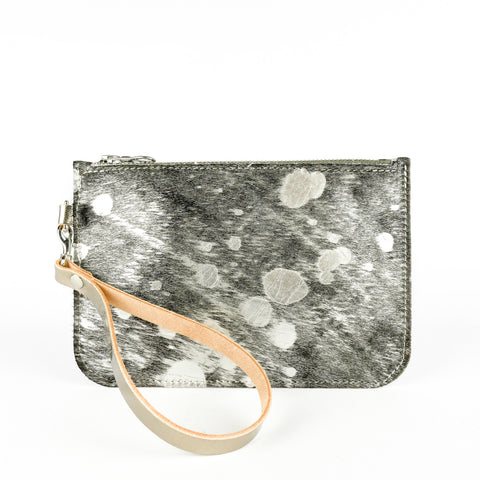Hair on Hide Silver Splash Leather Clutch Bag - Roam