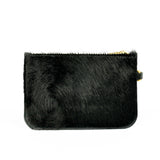 Hair on Hide Black Leather Clutch Bag - Roam