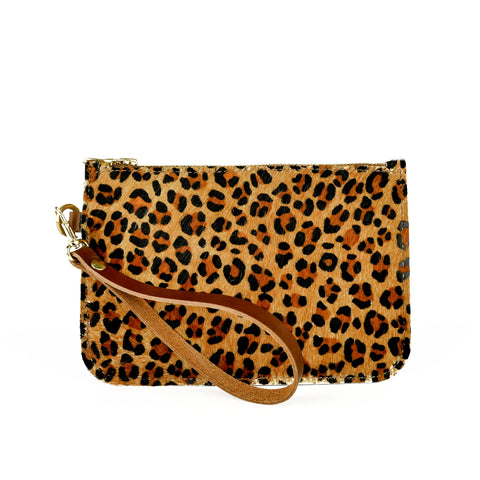 Hair on Hide Leopard print Leather Clutch Bag - Roam