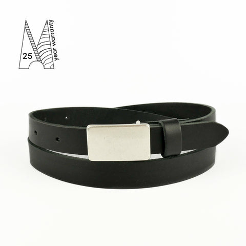 Black Plate Buckle Belt 3/4""