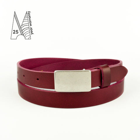 Burgundy Plate Buckle Belt 3/4""