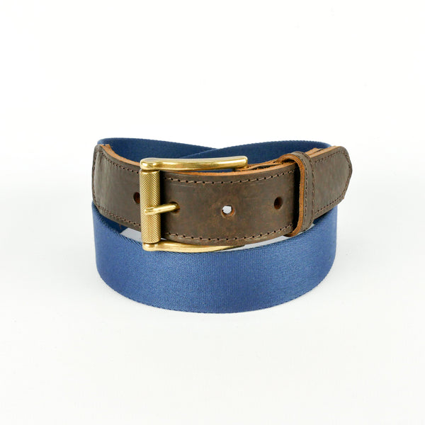 Leather Trimmed Webbing Belt Navy