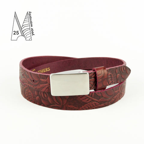 Tooled Burgundy Plate Buckle Belt 3/4""