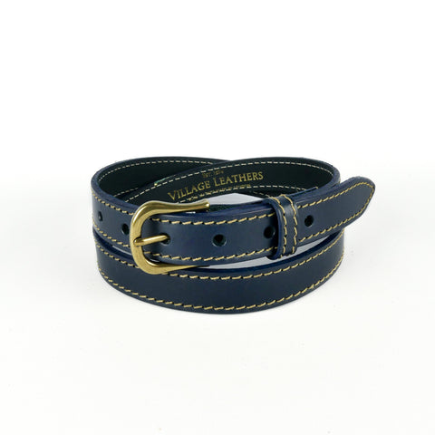 "Navy 1"" Stitched Leather Belt"