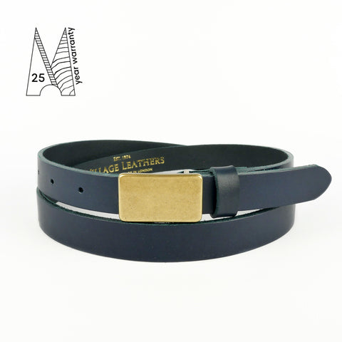 Navy Plate Buckle Belt 3/4""