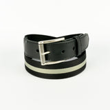 Leather Trimmed Webbing Belt Black and Grey
