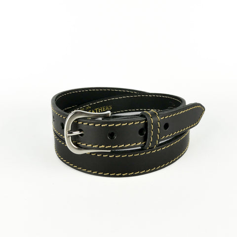"Black 1"" Stitched Leather Belt"