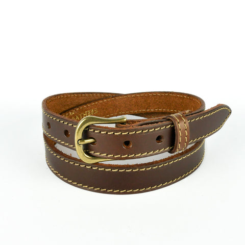 "Brown 1"" Stitched Leather Belt"