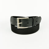 Leather Trimmed Elasticated Webbing Belt Black