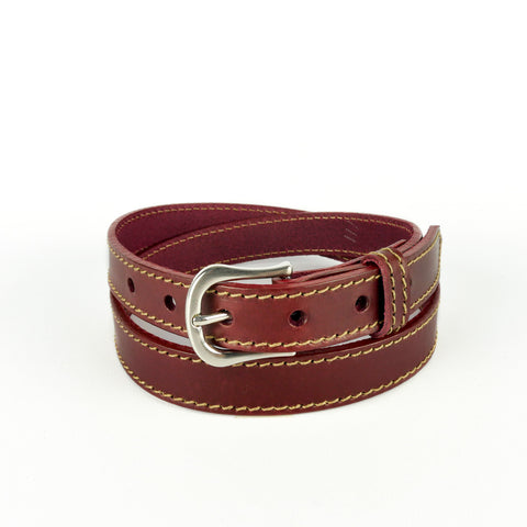 "Burgundy 1"" Stitched Leather Belt"