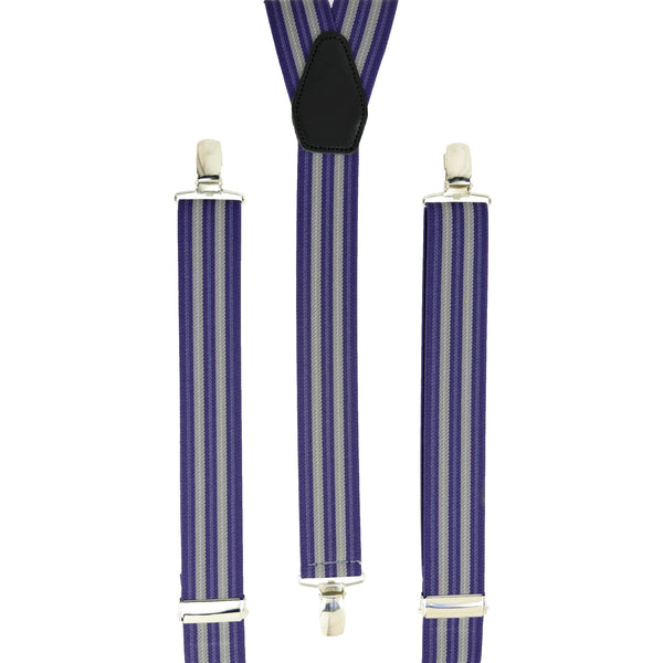 Multi Purple Vertical Stripes Trouser Braces