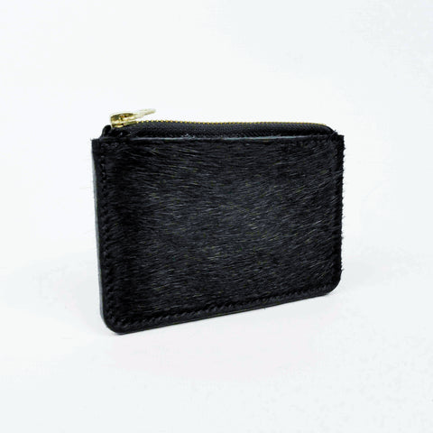 Hair on Hide Black Leather Zip Purse - Roam