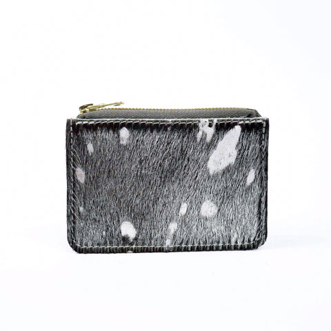 Hair on Hide Silver Splash Leather Zip Purse - Roam