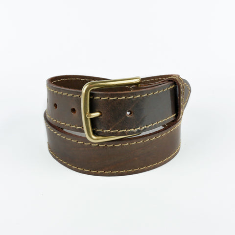 "Brown and Fawn 1 1/2"" Stitched Leather Belt"