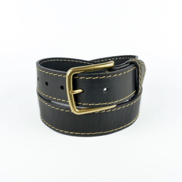 "Black and Fawn 1 1/2"" Stitched Leather Belt"