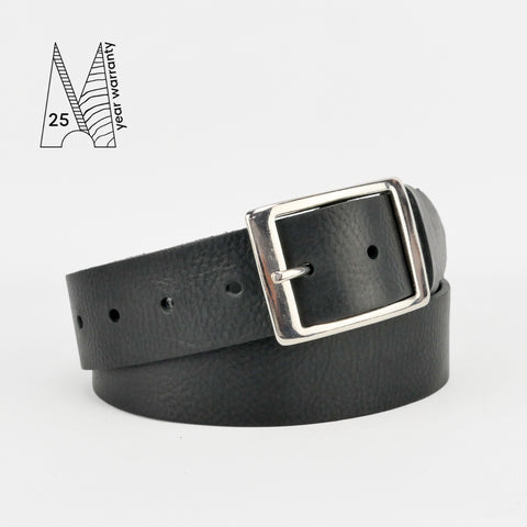 "1 1/2"" Classic Black Leather Belt"
