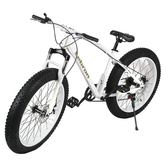 26*21 Inch 7 Speed Snow Bike Double Disc Braking System Bicycle Steel Frame Mountain Bike Outdoor Sports Exercise Bike