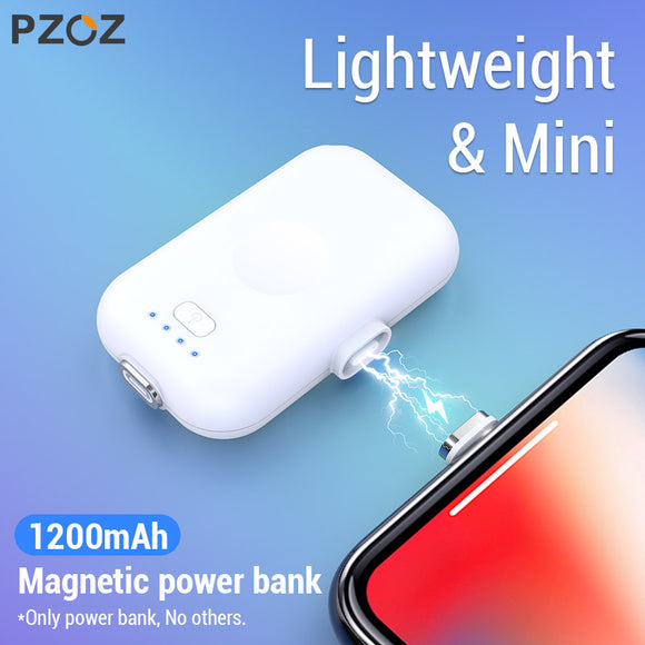 PZOZ Magnetic Power Bank For iPhone Micro USB Type C 1200mAh Mini Magnet Charger Power Bank