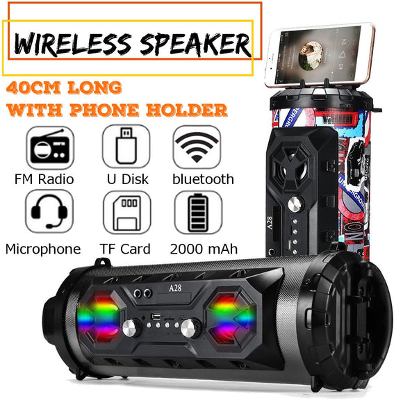 Colorful LED Light Portable Powerful Wireless Outdoor Speaker