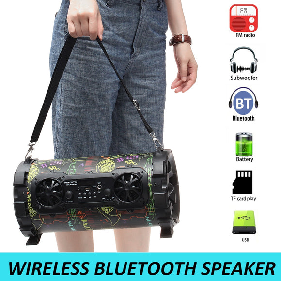 Portable Outdoor Speaker 15W Wireless bluetooth V4.1 Sound System AUX/USB/TF Card/Radio FM Player Music