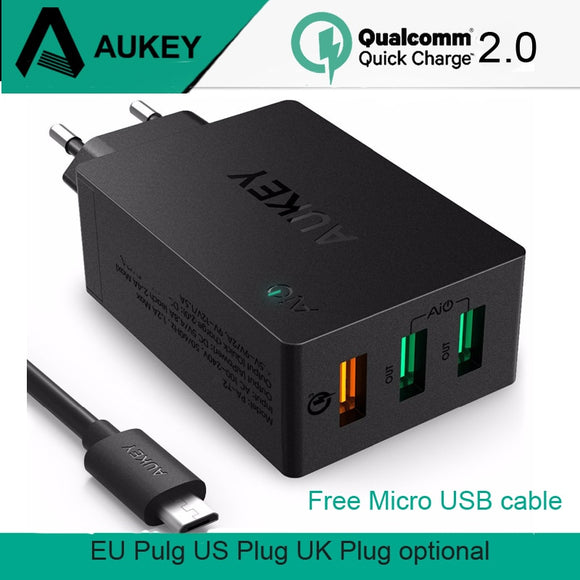 AUKEY Quick Charge 2.0 USB Wall Charger 3 Port USB Smart Fast Turbo Mobile Charger